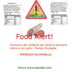 Allerta alimentare oggi: Salame Mariga Giuseppe rischio Salmonella