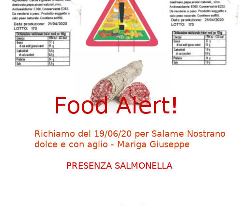 Mariga Salame richiamo salmonella