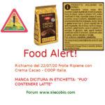 Allerta alimentare richiamo Coop Frolle ripiene con Crema Cacao