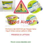 Allerta alimentare oggi: Despar Yogurt greco senza lattosio