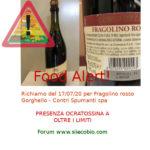 Allerta alimentare: Fragolino rosso Gorghello con Ocratossina A