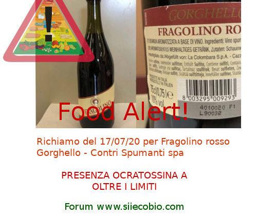 Allerta richiamo Fragolino Gorghello