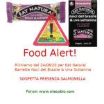 Allerta alimentare: richiamo Barrette Noci del Brasile Eat Natural