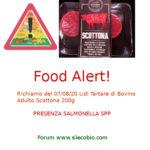Allerta alimentare: Lidl Tartare Bovino Adulto Scottona con Salmonella