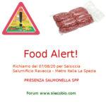 Allerta alimentare oggi: Salumificio Ravecca Salsiccia con Salmonella