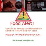 Allerta alimentare: richiamo per Conad Fondente Noir - Cioccolato Fondente Extra 72% Cacao