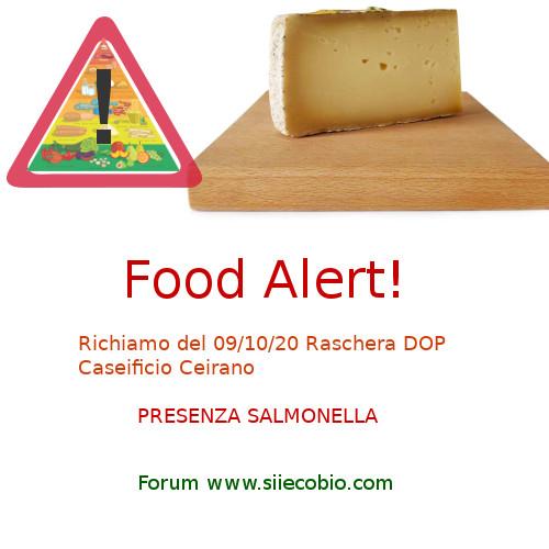 Allerta alimentare richiamo Raschera DOP Ceirano