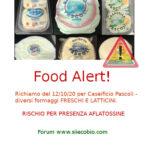 Allerta alimentare: richiamo formaggi freschi Caseificio Pascoli