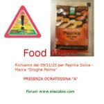 Allerta alimentare: richiamo per Paprika dolce Droghe Palma