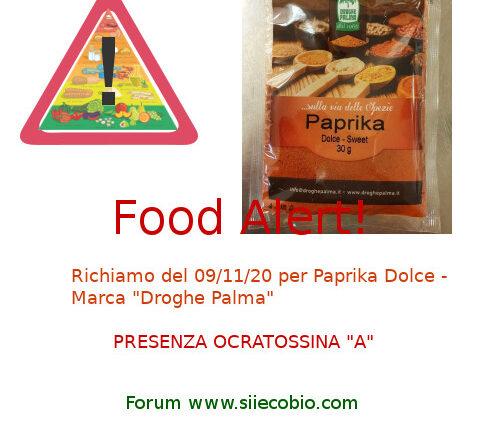 Allerta alimentare Richiamo Paprika Droghe Palma