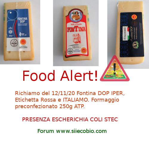 Allerta alimentare Fontina DOP Iper, Etichetta rossa, Italiamo