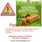 Allerta alimentare: richiamo per Lidl Barrette Muesli e Cereali Crownfield