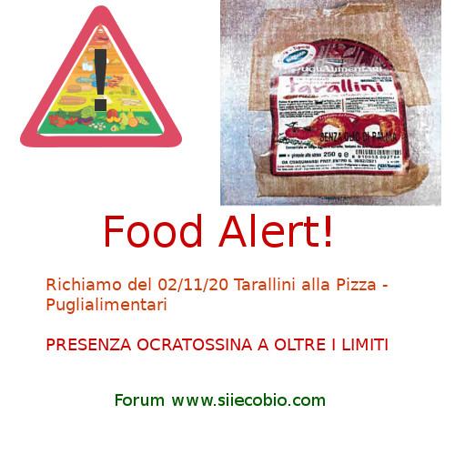 Allerta alimentare richiamo Tarallini Puglialimentari