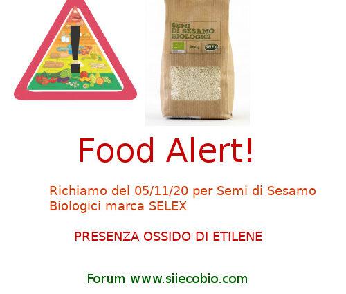 Allerta alimentare Semi di Sesamo Bio Selex