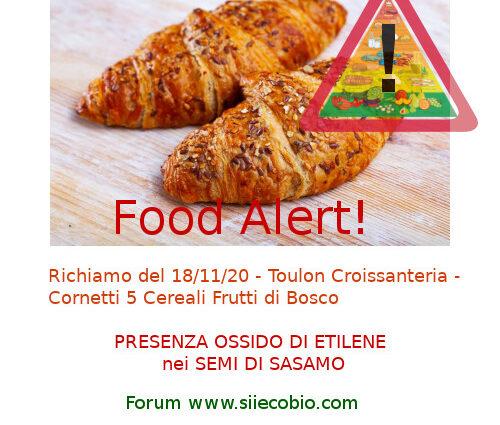 Allerta alimentare richiamo Toulon Croissanteria