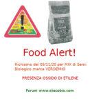 Allerta alimentare: richiamo per Mix di Semi biologico Verdemio