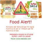 Allerta alimentare richiamo per Hummus Ceci F.lli Saclà