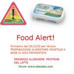 Allerta alimentare richiamo per Valsoia Preparato alimentare vegetale a base di Soia fermentata