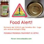 Allerta alimentare richiamo Sugo alle verdure biologico Carrefour Bio