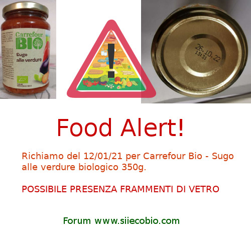 Richiamo Sugo verdure Carrefour Bio