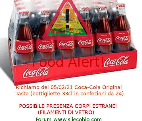 Coca Cola Original Taste richiamo
