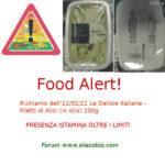 Allerta alimentare richiamo per Filetti di Alici Le Delizie Italiane