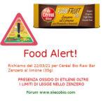 Allerta alimentare richiamo per Céréal Bio Raw Bar Zenzero al limone