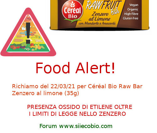 Cereal Bio Raw Bar richiamo
