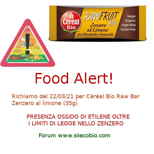 Cereal Bio Raw Bar richiamo