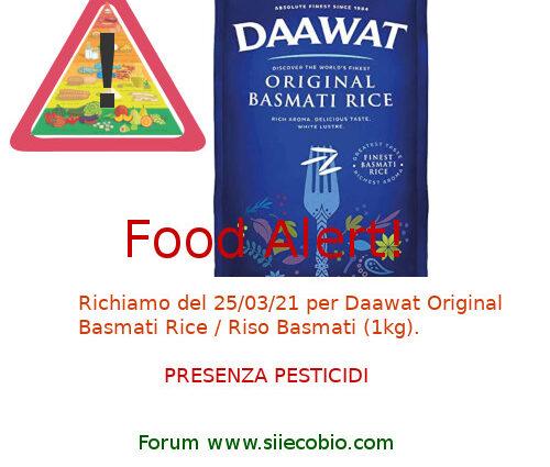 Daawat Original Basmati Riso richiamo