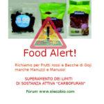 Allerta alimentare richiamo per Misto Frutti rossi e Bacche di Goji