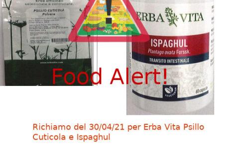 Richiamo integratori alimentari Erba Vita Psillo Ispaghul