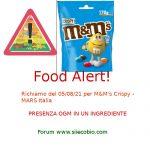 Allerta alimentare per M&M's Crispy rischio microbiologico OGM